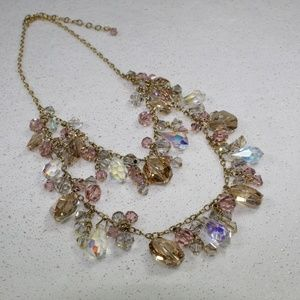 Jewelry - Gold and Pink Crystal Dangling Bead Necklace